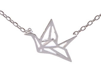 Origami Crane Design Dainty Necklace in Sterling Silver 16'' - 18'' n6