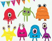 Monster Clipart: cute monsters clip art, alien clipart, alien graphics - limited commercial use; monster party banner graphics, space party