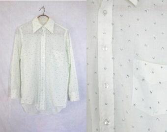 60s shirt size medium. mens button down shirt. mens shirt medium. green shirt. cotton shirt. mens medium. dress shirt