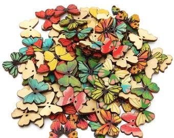 15 x wooden butterfly buttons