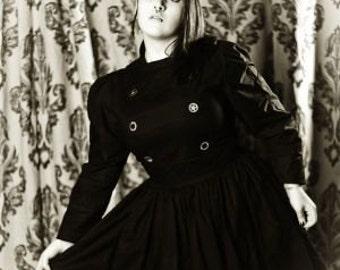 Steampunk Dress  Steam Punk Black Gothic Lolita Military Dress Goth Custom Size including Plus Size Cosplay Halloween Costume