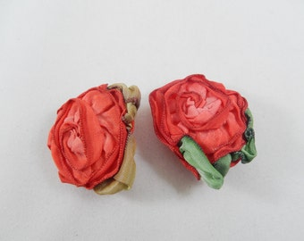 2 Red Rose and Green Leaves Ribbon Button Covers