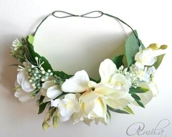 White bride flower crown