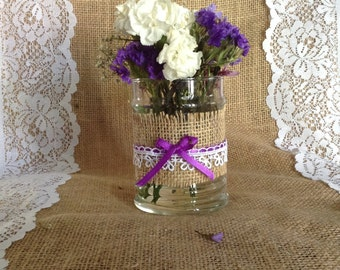 Vase / Candle holder with burlap