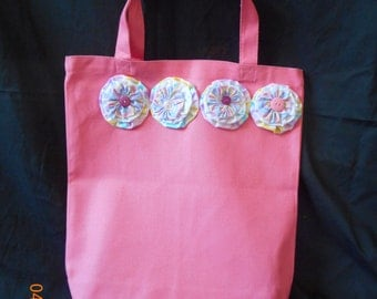 PINK Canvas Tote Bag with Handmade Fabric YO YOs and Buttons