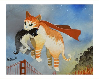 Heroic cat in San Francisco