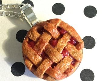 Lattice Crust Cherry Pie Pendant Necklace