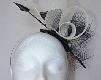 Black and ivory feather fascinator. Handmade.