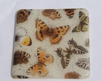 2 butterfly pattern glass coasters