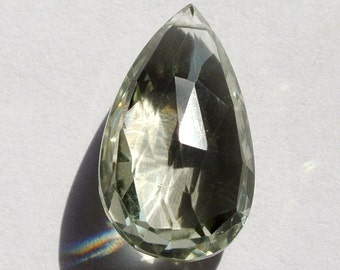 1 Pc Natural Green Amethyst Faceted Pear Briolettes Size 17x12mm Approx Focal Pendant, Focal Briolette, Focal Bead