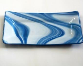 blue glass relish dish