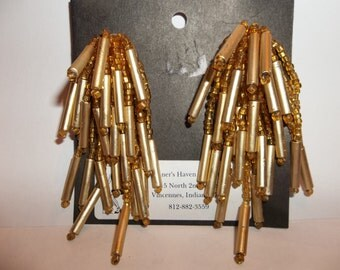 Glitzy Dangling Gold Bugle Beads and Seed Bead Earrings...Vintage but never sold
