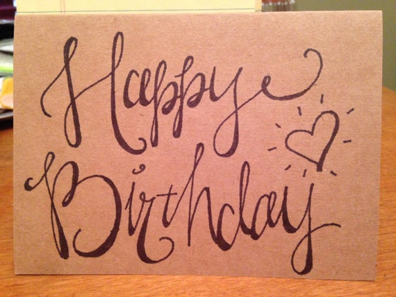 Items similar to happy birthday faux calligraphy on etsy