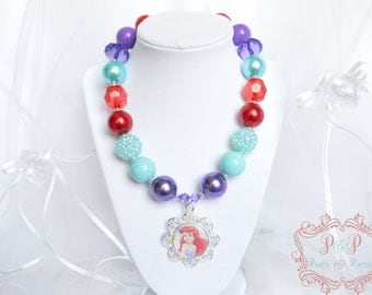 Little Mermaid Ariel necklace chunky necklace girls baby toddler women turquoise red purple birthday party favor gift, photo prop, statement