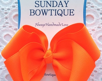 Neon Orange Hair Bow, Neon Orange Hairbow, Orange Boutique Bow, Orange Hair Bow, Neon Hair Bow, Fliorescent Hair Bow, Bright Hair Bow