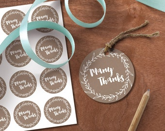 Printable DIY Thank You Tags | Instant Download | Wedding Favour, thank you card, round tags