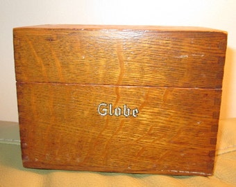 Globe Wooden Card File