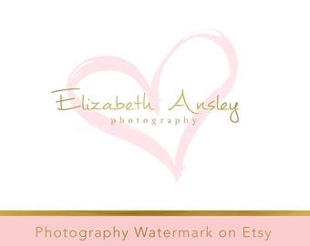 Instant Download Logo - Heart logo - Premade Logo Design - Watercolor Logo - Watercolor watermark - Gold Logo Template - Photography Logo 82