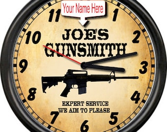 Gunsmith Guns Firearms AR-15 Rifle Gun Shop Sales Retro Personalized Wall Clock