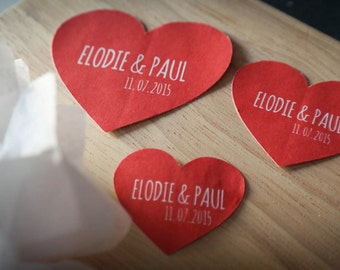 40 self-adhesive labels form heart - custom labels wedding - the bride and groom names + date (several colours available)