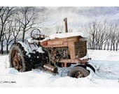 Farmall Tractor. Winter Scene, Art Print, Watercolor Painting, Tractor wall art, Christmas gift ideas