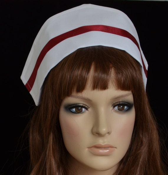 White Fabric Senior Nurse S Cap With Red Stripe On Pointed
