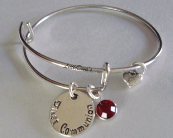 GIRLS First Communion Charm Adjustable Bangle W /Swarovski Birthstone Crystal Drop w/ A Silver Tone Heart - Religion FC1
