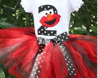 Elmo Birthday Onesie Tutu and FREE Hair Bow Personalized