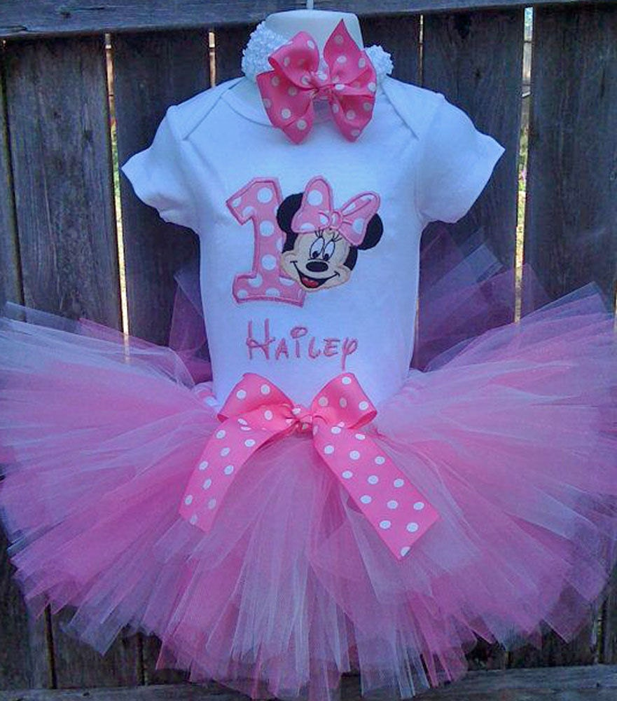 Pink Minnie Mouse 1st Birthday Outfit Onesie By