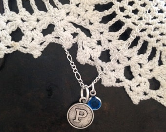 Monogram Necklace with Birthstone