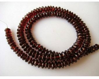 Garnet Beads, Mozambique Garnet, Rondelle Beads, Garnet Rondelles, German Cut, 6mm Beads, 8 Inch Half Strand