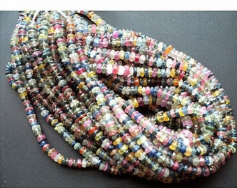 Multi Sapphire Faceted Rondelles/ Sapphire Beads/ Rondelle Beads/ 3mm To 3.5mm Beads/ 15 Inch Strand