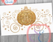 Golden Carriage Princess Frame Applique Design For Machine Embroidery INSTANT DOWNLOAD