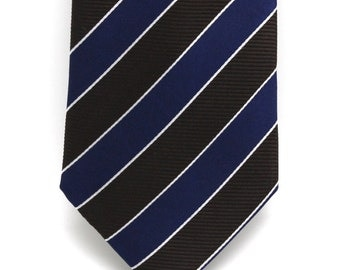 Mens Grey and Blue Striped Silk Tie