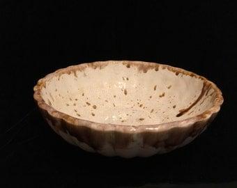 Frank Moreno Art Pottery Bowl by Moreno Ceramics California USA S3D Drip Glaze Vintage 1960s Brown on White