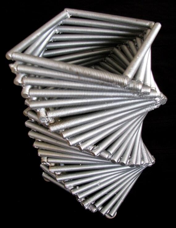 Custom Welded Metal Treads Table Vase Holder
