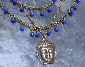 Buddha Raindrop necklace- Ultramarine