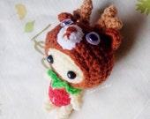 Amigurumi crochet doll reindeer and strawberry,handmade keychain,bags charm