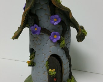 Fairy House hand crafted ceramic with pops of color