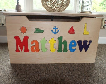 Personalized Nautical Wooden Toy Box
