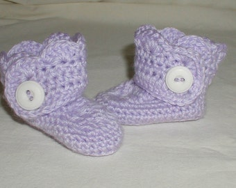 Hand Crochet Baby Girls Booties with Buttons 0-6 Months