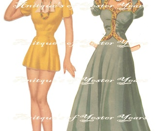 Vintage Paper Doll & Clothing Betty Lou Digital Dowload Printable Image for DIY