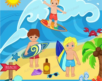 Summer clipart, Surfer Boys Clipart - Clip Art