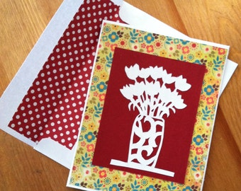 Hand-cut Vase of Tulips Handmade Greeting Card