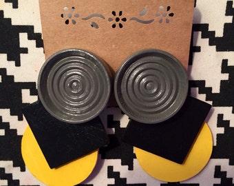 Black, Yellow, Gray Checkered Earrings