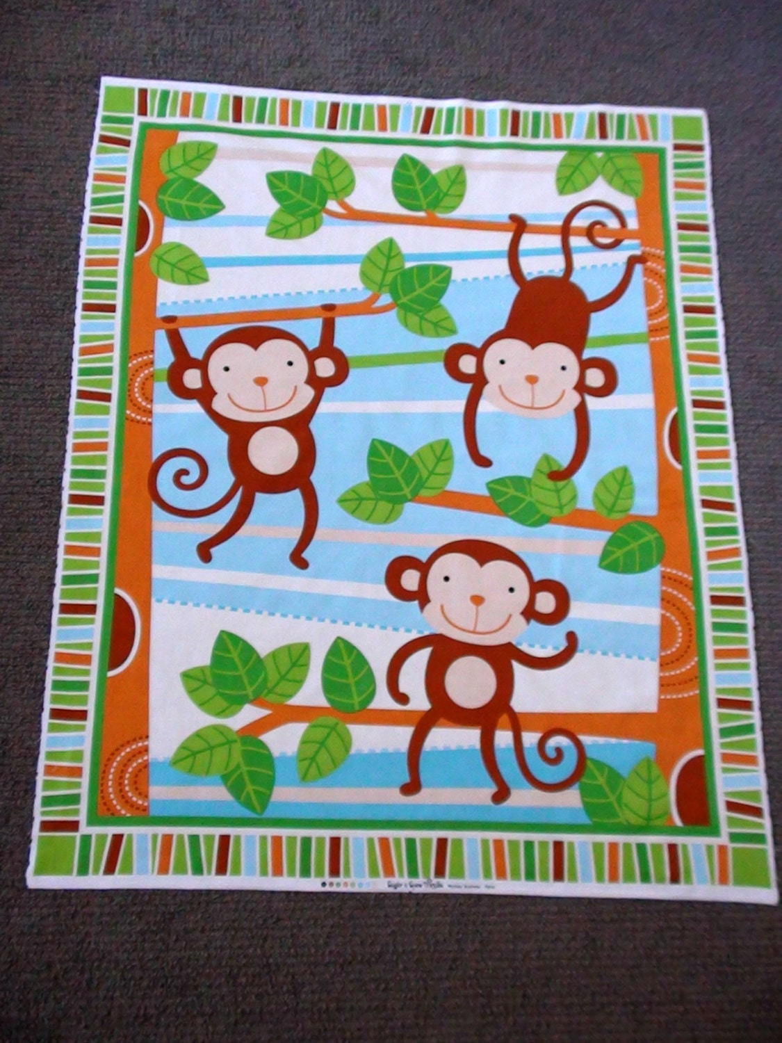 Monkey fabric panel nursery fabric panels zoo animal for Nursery monkey fabric