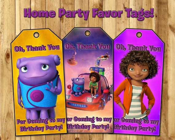 Home Party Favor Tags - Almost Home Birthday Party Favor Tags - Download Print Dreamworks Home Loot Bag Tags Party Favour Tags
