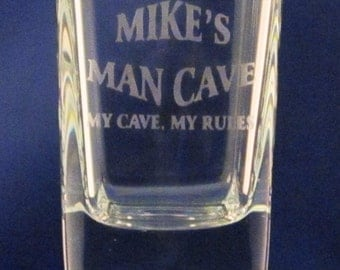 Personalized Man Cave Square Shot Glasses 2.5 oz Set of 4