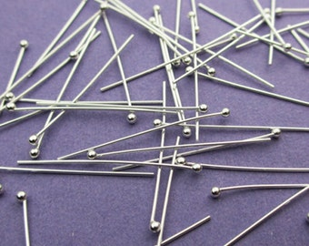 New 38mm 24 gauge 925 Sterling Silver Ball Ended Headpins 24pcs