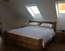 Bed Frame Chunky solid rustic pine wood with headboard all sizes available
